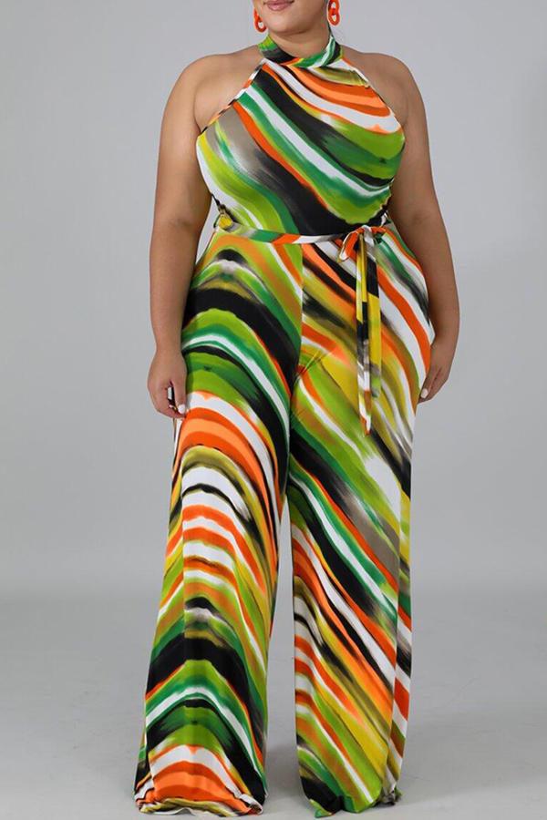 Plus Size Jumpsuit Lovely Casual Striped Print Multicolor Plus Size One-piece Jumpsuit фото