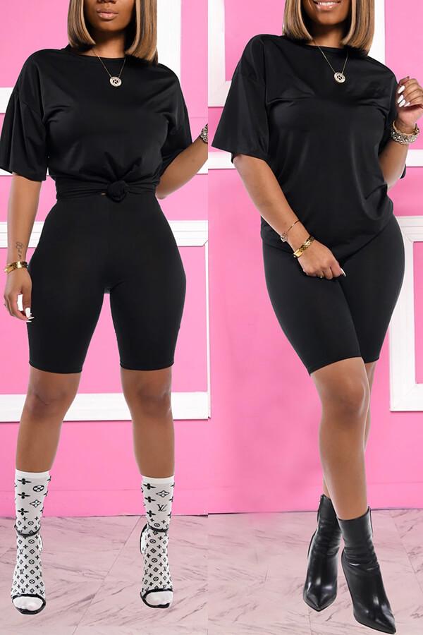 Lovely Trendy Basic Black Two-piece Shorts Set фото