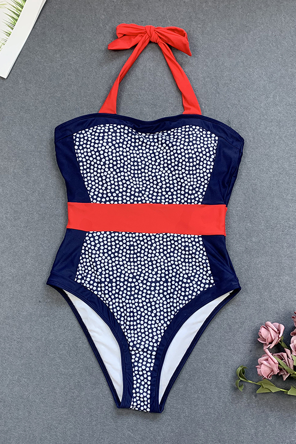 Lovely Patchwork Blue Bathing Suit One-piece Swimsuit