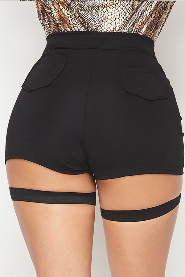 Lovely Casual Hollow-out Black Shorts