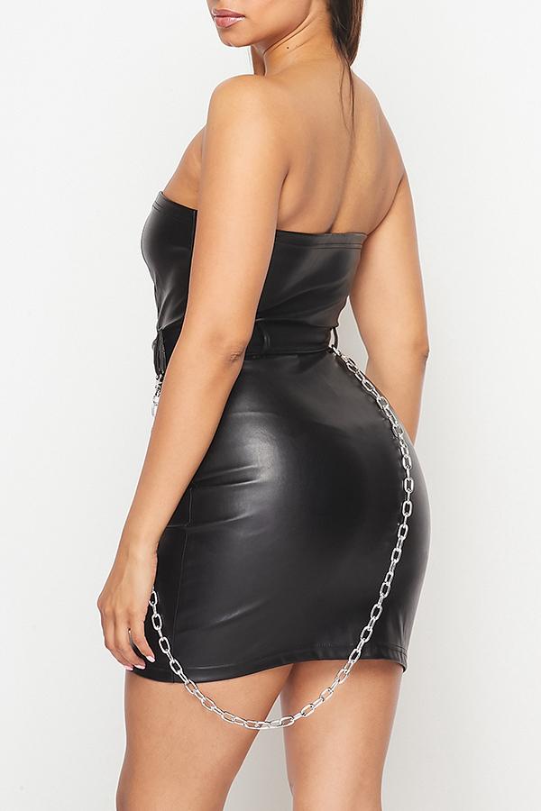 Lovely Party Zipper Design Black Mini Dress
