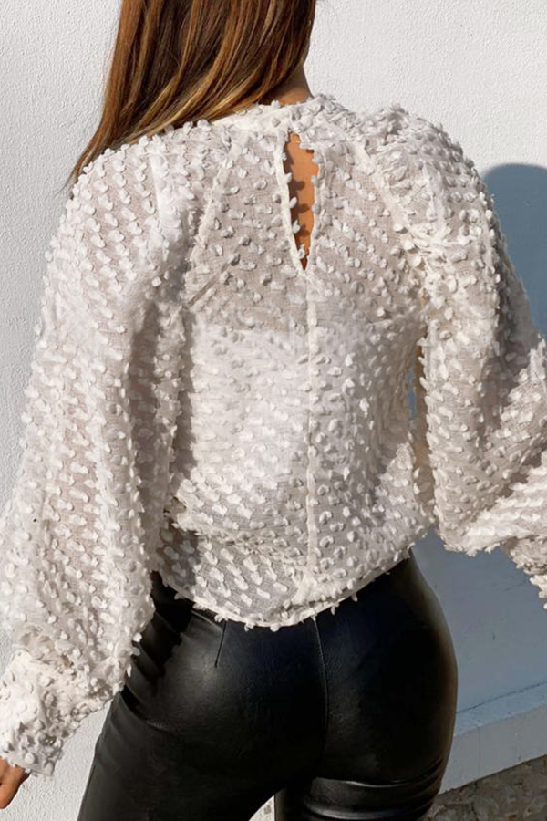 Lovely Sweet Hollow-out White Blouse