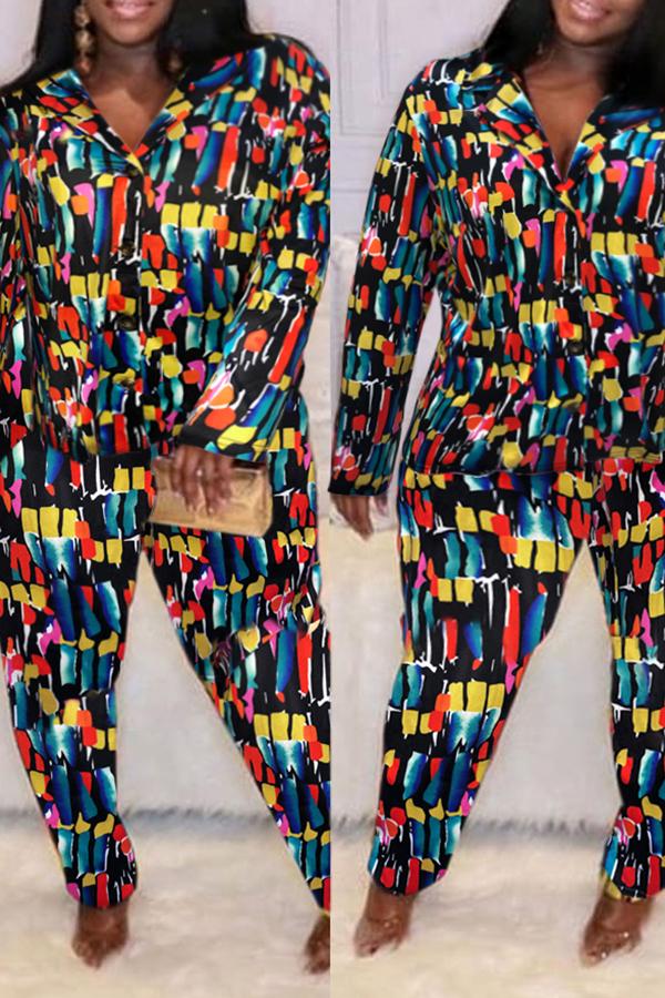 Lovely Trendy Color-lump Patchwork Multicolor Plus Size Two-piece Pants Set