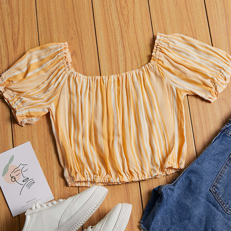 Lovely Leisure Striped Print Yellow Blouse