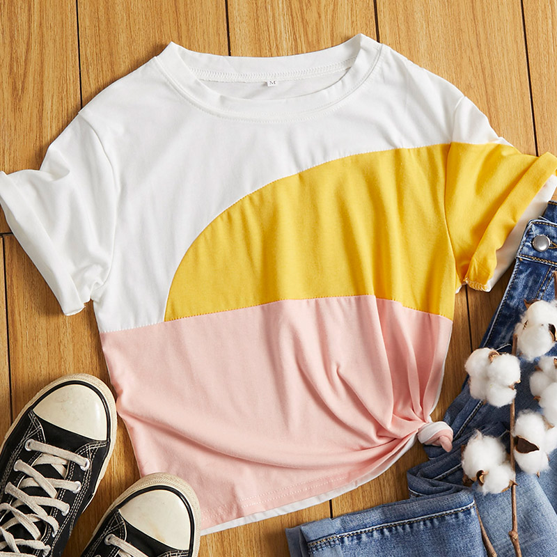 Lovely Leisure O Neck Patchwork Multicolor T-shirt