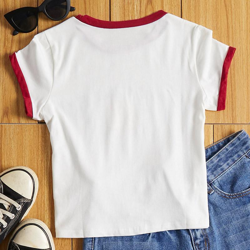 Lovely Leisure O Neck Letter Print White T-shirt