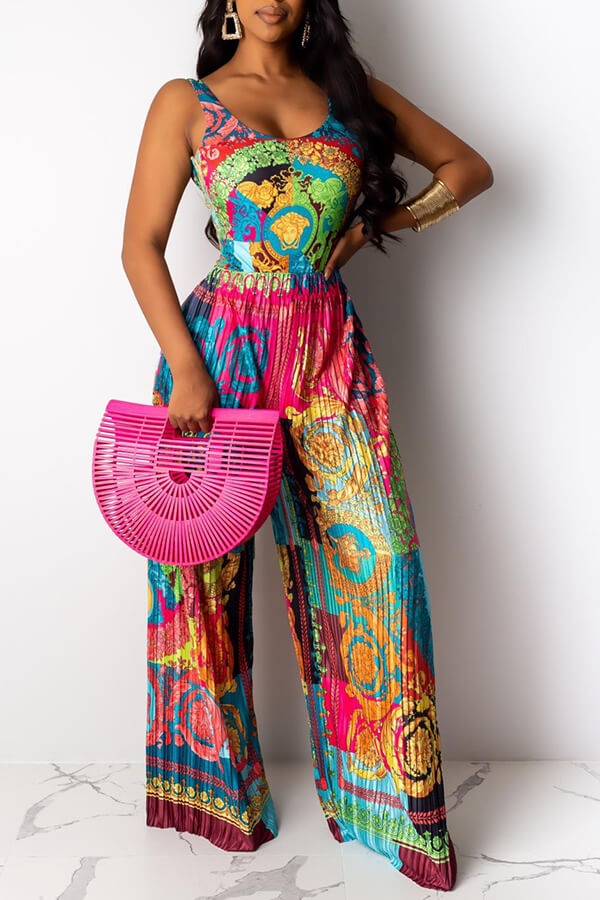 Lovely Bohemian Print Green One-piece Jumpsuit