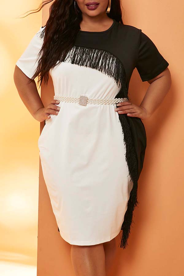 Lovely Casual Patchwor Black Knee Length Plus Size Dress