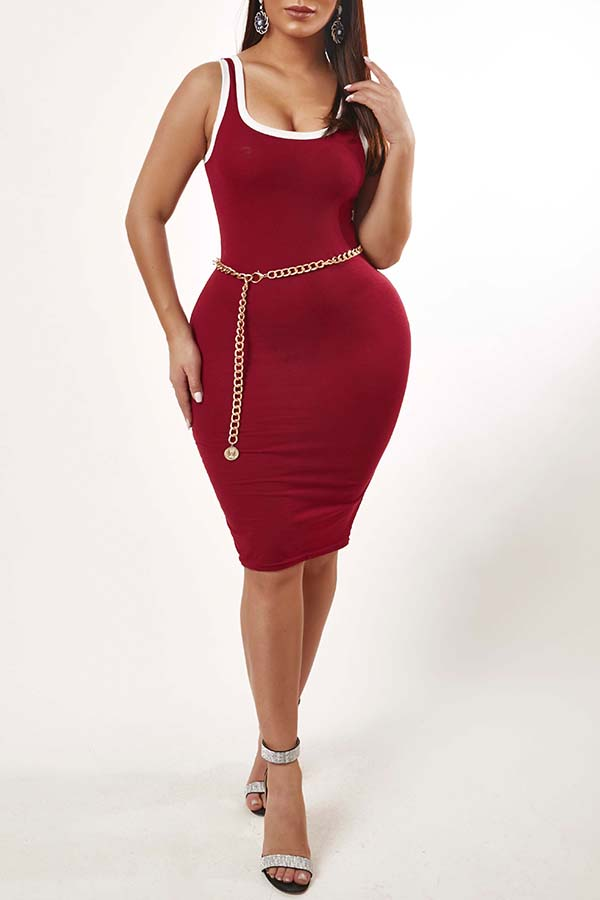 Lovely Leisure U Neck Patchwork Red Knee Length Dress