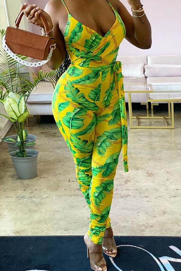Lovely Bohemian Plants Print Yellow One-piece Jumpsuit
