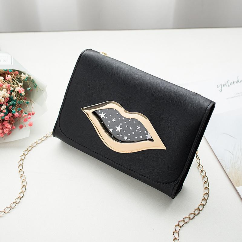 Lovely Stylish Lip Print Black Messenger Bag