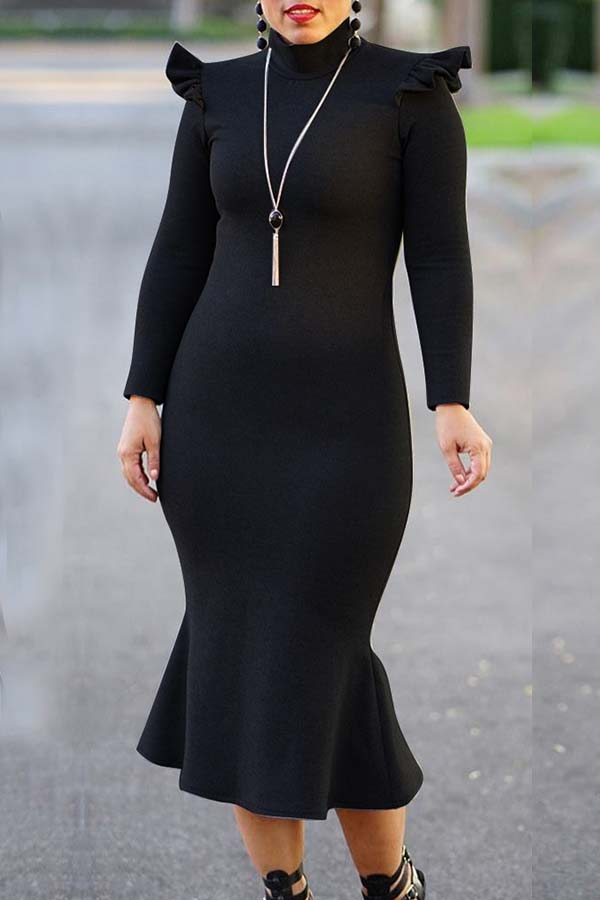 Lovely Casual Flounce Design Black Mid Calf Plus Size Dress