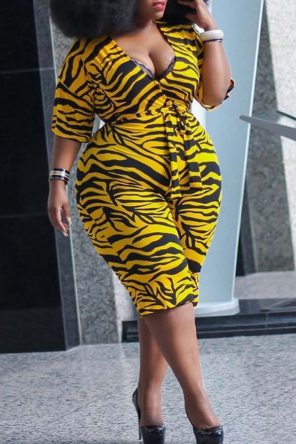 Lovely Casual Print Yellow Plus Size One-piece Jumpsuit