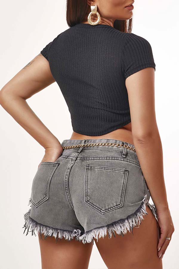 Lovely Casual Buttons Design Grey Shorts