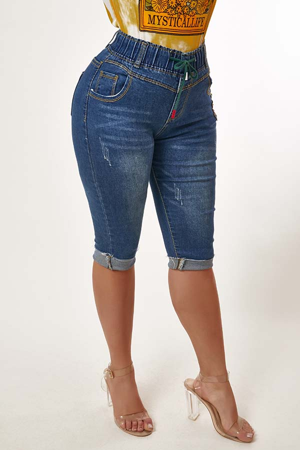 Lovely Casual Lace-up Blue Jeans