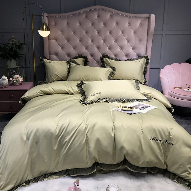 Lovely Leisure Flounce Design Gold Bedding Sets