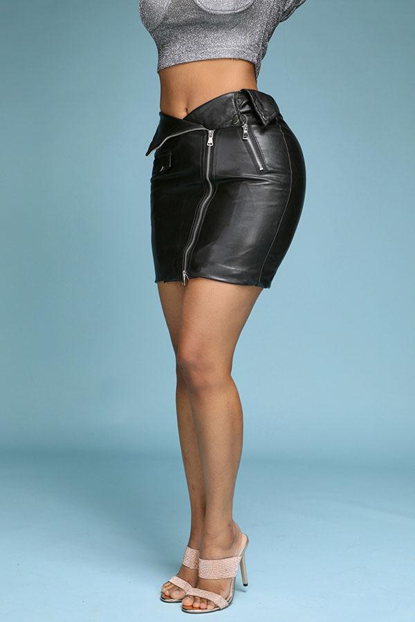 Lovely Trendy Zipper Design Black Skirt