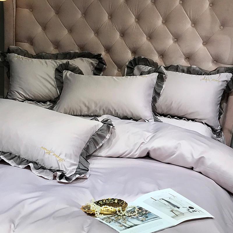 Lovely Leisure Flounce Design Purple Bedding Set