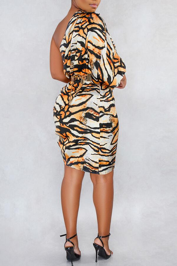 Lovely Stylish One Shoulder Tiger Stripes Mini Dress(Without Waistband)