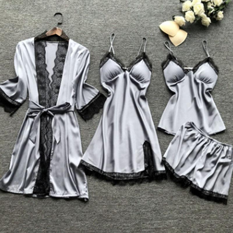 Lovely Leisure Lace Patchwork Silver Sleepwear