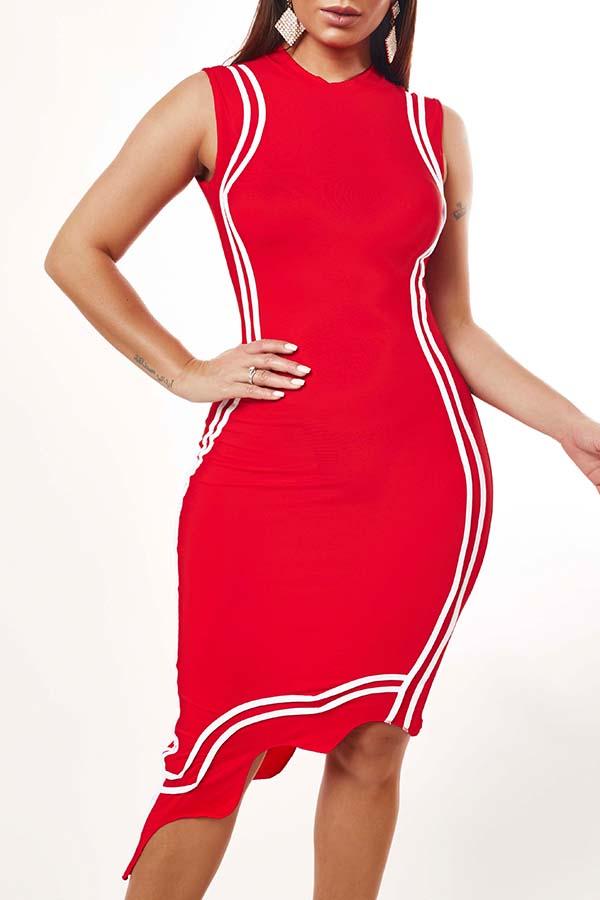 Lovely Casual Asymmetrical Red Knee Length Dress