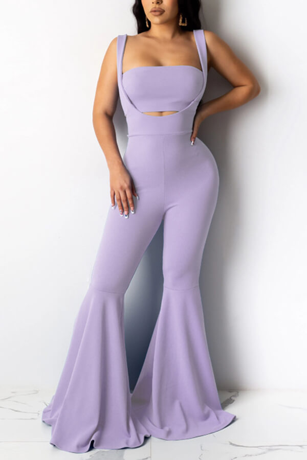 Lovely Casual Hollow-out Light Purple Two-piece Pants Set