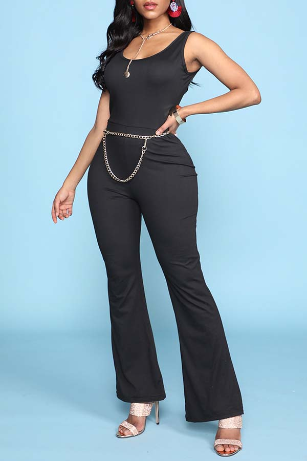 Lovely Leisure Basic Black One-piece Jumpsuit