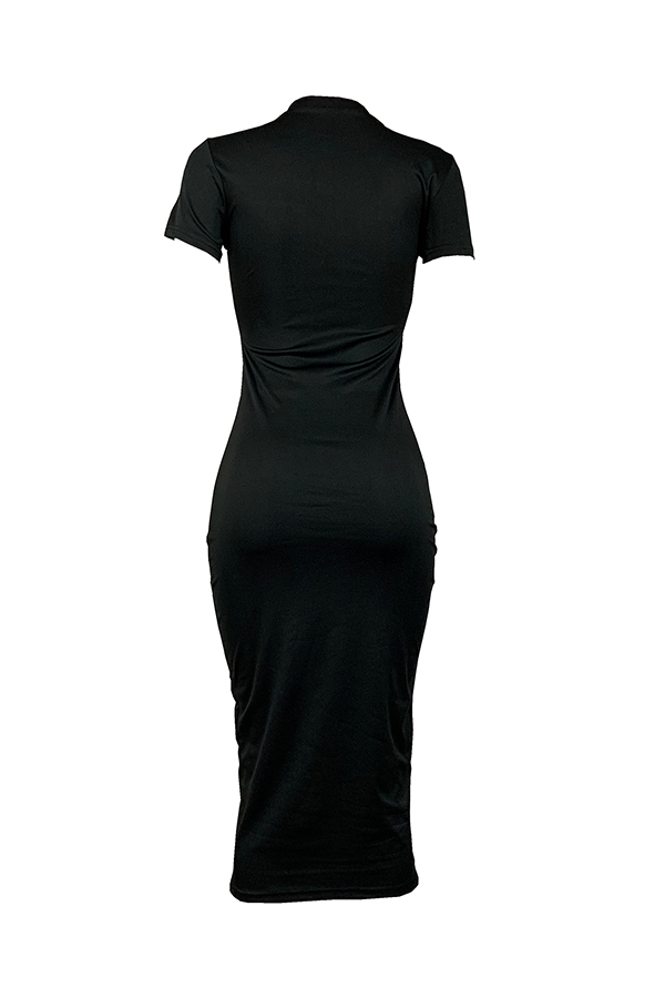 Lovely Casual O Neck Bead Letter Print Black Mid Calf T-shirt Dress