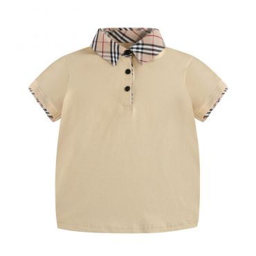 Lovely Leisure Plaid Print Khaki  Boys T-shirt