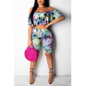 Lovely Casual  Dew Shoulder Blue Two-piece Shorts