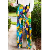 Lovely Casual Print Loose Yellow Pants