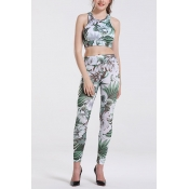 Lovely Trendy Crop Top Print Green Two-piece Pants