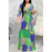 Lovely Bohemian Print Green Maxi Dress