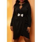 Lovely Casual Fold Design Black Knee Length Plus S