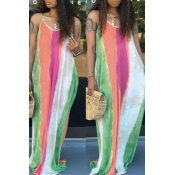 Lovely Chic Print Loose Green Maxi Dress