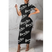 Lovely Casual Letter Print Black Ankle Length Dres