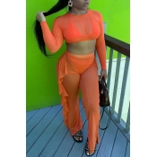 Lovely Casual Flounce Orange Two-piece Pants Set