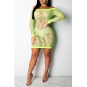 Lovely Chic Hollow-out Green Cover-up