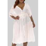 Lovely Casual  V Neck White Plus Size Cover-up