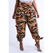 Lovely Chic Camo Print Orange Pants