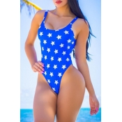 Lovely Star Print Blue One-piece Swimsuit