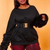 Lovely Trendy Patchwork Black Plus Size Blouse