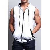 Lovely Trendy Zipper Design White  Vest