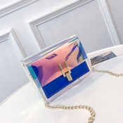 Lovely Trendy Chain Strap Blue Crossbody Bag