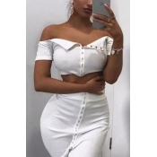 Lovely Casual Button White Two-piece Skirt Set