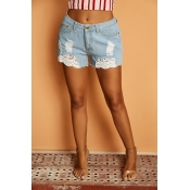 Lovely Trendy Broken Holes Blue Shorts