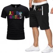 Men Lovely Trendy Print Black Tow-piece Shorts Set