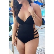 Lovely Hollow-out Black Bathing Suit Plus Size One