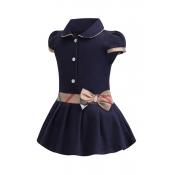 Lovely Sweet Patchwork Dark Blue Girl Mini Dress