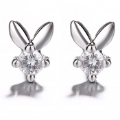Lovely Trendy Rhinestone Decorative Silver Earring